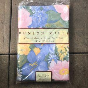Benson Mills FLORAL flannel BACK vinyl tablecloth